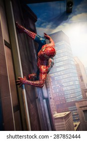 AMSTERDAM, NETHERLANDS - JUN 1, 2015: Spiderman in the Madame Tussauds museum in Amsterdam. Marie Tussaud was born as Marie Grosholtz in 1761