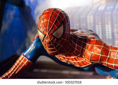 AMSTERDAM, NETHERLANDS - JUN 1, 2015: Spiderman in the Madame Tussauds museum in Amsterdam. Spider man is a fictional character created by Stan Lee