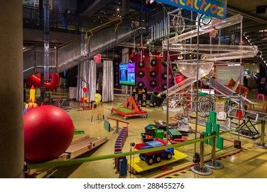 AMSTERDAM, NETHERLANDS - JUN 2, 2015: Children chain reaction construction in the Science Center Nemo, a science center in Amsterdam. The museum has origins in 1923