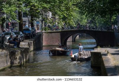 Amsterdam, Netherlands, Jun 2018: Boats on the Brouwersgracht, Amsterdam, Netherlands