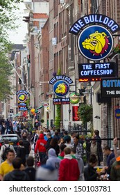 AMSTERDAM, NETHERLANDS - JUN 23: 3 The Bulldog coffeeshops in Amsterdam on Jun 23, 2013 Amsterdam, Netherlands. Bulldog was the first coffeshop and laid the benchmark for the contemporary coffeeshop.