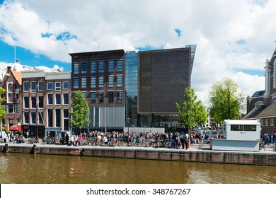 AMSTERDAM, NETHERLANDS - JUNE 01, 2015: : Anne Frank house and holocaust museum in Amsterdam, the Netherlands. Anne Frank house is a popular tourist destination
