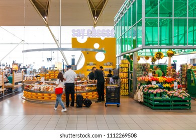 Amsterdam, Netherlands - June 01, 2018: Cheese Store in Amsterdam Schiphol Aiport