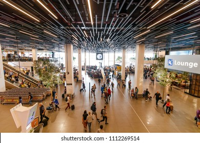Amsterdam, Netherlands - June 01, 2018: Lounge In Schiphol Airport