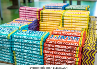 Amsterdam, Netherlands, June 09, 2018 AMS Schiphol Airport, Tony's Chocolonely chocolate bar on the shelf in store