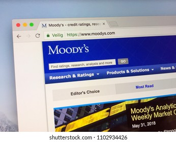 Amsterdam, Netherlands - June 1, 2018: Website of Moody's Corporation, an American business and financial services company.