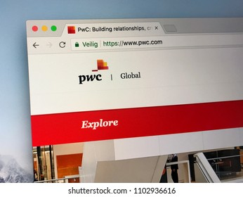 Amsterdam, Netherlands - June 1, 2018: Website of PricewaterhouseCoopers or PWC. Price Waterhouse Coopers is the second largest professional services firm in the world.