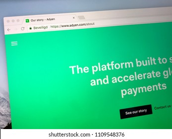 Amsterdam, Netherlands - June 10, 2018: Website of adyen.com. Adyen is a Dutch global e-commerce, mobile, and point-of-sale payment company.