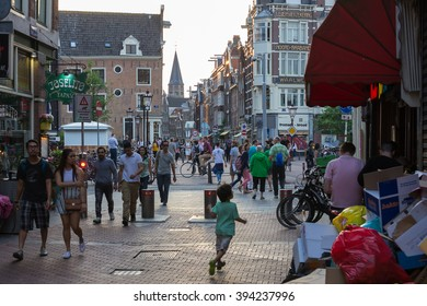 Amsterdam, Netherlands - June 12 - A lively street (Haarlemmerstraat) in the heart of Amsterdam on June 12, 2015.