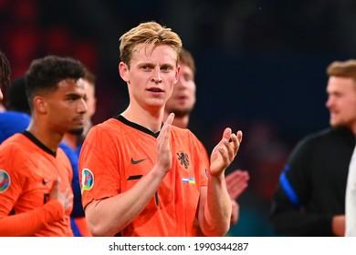 AMSTERDAM, NETHERLANDS - JUNE 13, 2021: Frenkie de Jong (21) EURO 2020. The football match Ukraine vs Netherlands