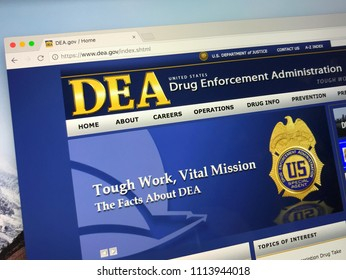 Amsterdam, Netherlands - June 14, 2018: Official American government law enforcement agency website of the The Drug Enforcement Administration or simply DEA.