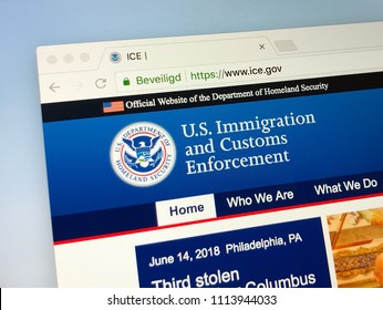 Amsterdam, Netherlands - June 14, 2018: Official American government law enforcement agency website of the U.S. Immigration and Customs Enforcement (ICE).