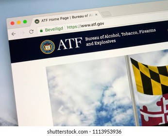 Amsterdam, Netherlands - June 14, 2018: Official American government law enforcement agency website of the Bureau of Alcohol, Tobacco, Firearms and Explosives or simply ATF.