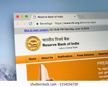 Amsterdam, Netherlands - June 14, 2018: Website of The Reserve Bank of India (RBI), India's central banking institution.