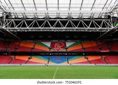 AMSTERDAM, NETHERLANDS - JUNE 16, 2014: Inside Amsterdam Arena (Johan Cruijff Arena) FC AJAX football stadium in Amsterdam, Netherlands