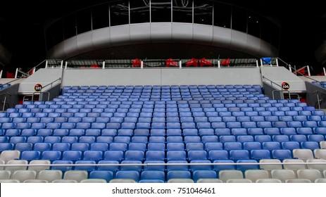 AMSTERDAM, NETHERLANDS - JUNE 16, 2014: Empty seats at Amsterdam Arena (Johan Cruijff Arena) FC AJAX football stadium in Amsterdam, Netherlands