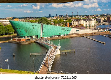 AMSTERDAM, THE NETHERLANDS - JUNE 16, 2016: Science Center NEMO - science educational museum   in Amsterdam in a beautiful summer day, The Netherlands on June 16, 2016