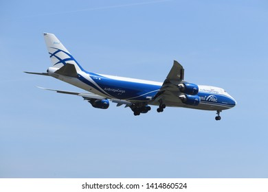 Amsterdam, the Netherlands - June, 1st 2019: VP-BBP AirBridgeCargo Boeing 747 final approaching to Polderbaan runway at Schiphol Amsterdam Airport, the Netherlands