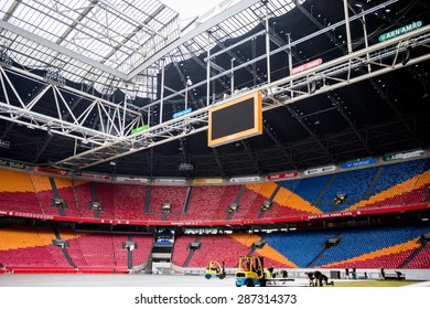 AMSTERDAM, NETHERLANDS - JUNE 2, 2015: One of the halls on Amsterdam Arena stadium, the largest stadium in Netherlands. The home stadium for the AFC Ajax and the Netherlands national team