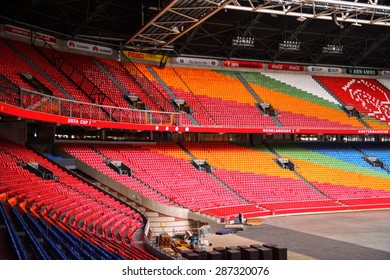 AMSTERDAM, NETHERLANDS - JUNE 2, 2015: Amsterdam Arena, the largest stadium in Netherlands. The home stadium for the AFC Ajax and the Netherlands national team