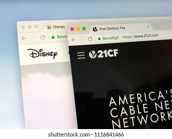 Amsterdam, the Netherlands - June 20, 2018: Official websites of The Walt Disney Company and 21st Century Fox.