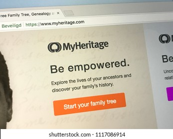 Amsterdam, the Netherlands - June 20, 2018: Website of MyHeritage, a popular  online genealogy platform
