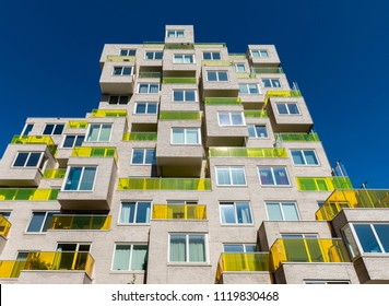Amsterdam, The Netherlands - June 20, 2018: Apartments at the Zuidas on the  Benjamin Brittenstraat in Amsterdam, The Netherlands