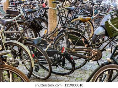 Amsterdam, The Netherlands - June 20, 2018: Many bikes parked at  the Zuidas in Amsterdam Zuid, Netherlands.