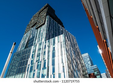 Amsterdam, The Netherlands - June 20, 2018: High office buildings on the Zuidas in Amsterdam Zuid, The Netherlands.