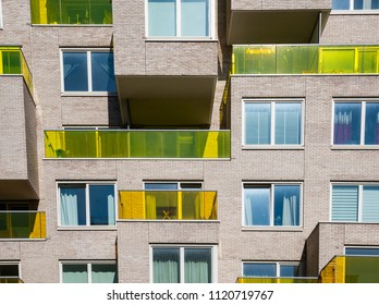 Amsterdam, Netherlands - June 20, 2018: Apartments with yellow balconies at the Zuidas on the  Benjamin Brittenstraat in Amsterdam, The Netherlands.