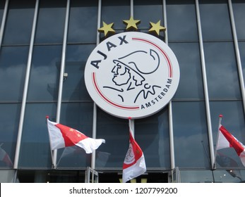 Amsterdam / Netherlands - June 2016: Ajax Amsterdam logo on Amsterdam Arena Stadium, Amsterdam, Netherlands.