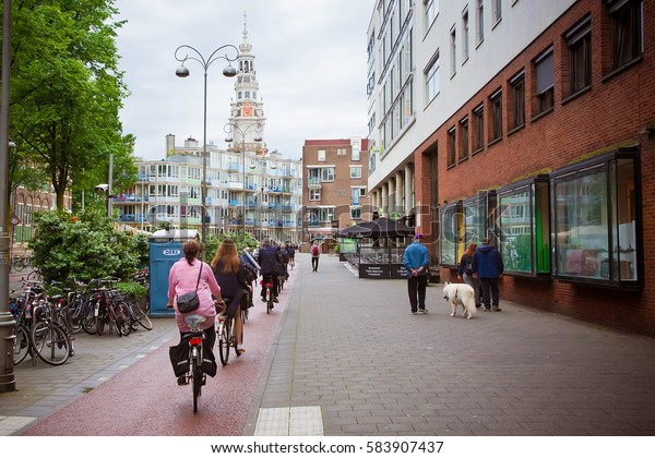 Amsterdam Netherlands June 2016 Bicycle Path Stock Photo Edit Now