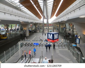 Amsterdam / Netherlands - June 2016: Amsterdam Bijlmer ArenA metro station.