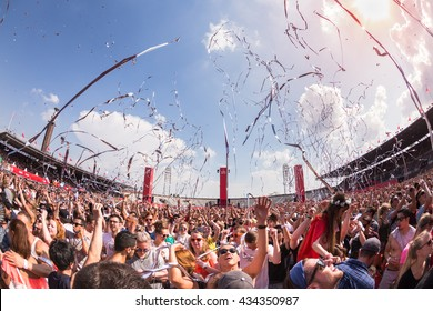Amsterdam, the Netherlands - June 2016 - The Flying Dutch - Crowd going wild during dance event