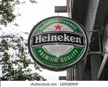 Amsterdam / Netherlands - June 2016: Heineken logo hang on the wall building.
