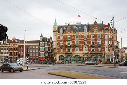 AMSTERDAM. NETHERLANDS - JUNE, 2016 View of the Popular Mint square in the city of Amsterdam, capital of Netherlands. Horizontal Image