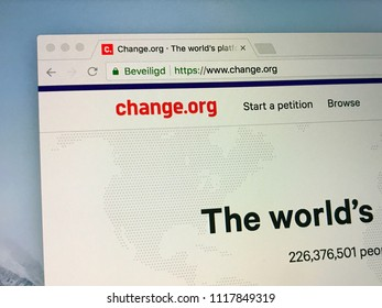 Amsterdam, the Netherlands - June 21, 2018: Petition website Change.org.
