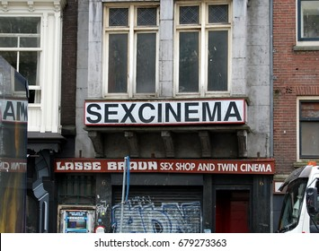 AMSTERDAM, NETHERLANDS - JUNE 22, 2010 - Sexcinema in the Red Light district in Amsterdam