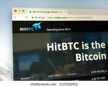 Amsterdam, the Netherlands - June 23, 2018: Website of hitbtc.com.  HitBTC a cryptocurrency exchange.