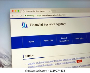 Amsterdam, the Netherlands - June 24, 2018: Website of THE Financial Services Agency or FSA. The FSA is a Japanese government agency and an integrated financial regulator.