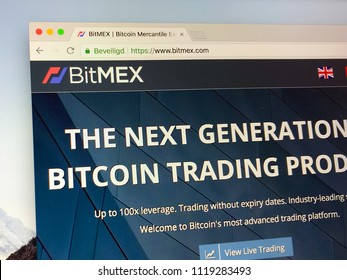 Amsterdam, the Netherlands - June 24, 2018: Website of BitMEX, a cryptocurrency derivatives trading platform.