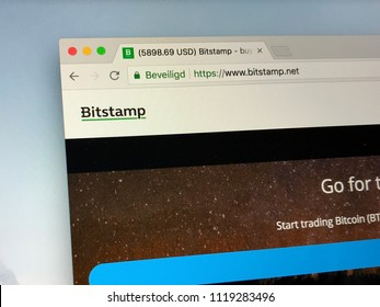 Amsterdam, the Netherlands - June 24, 2018: Website of Bitstamp, a bitcoin exchange based in Luxembourg