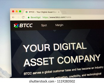 Amsterdam, the Netherlands - June 24, 2018: Website of BTCC, the world's second largest bitcoin exchange.