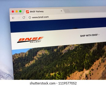 Amsterdam, the Netherlands - June 24, 2018: Website of The BNSF Railway Company, the largest freight railroad network in North America.