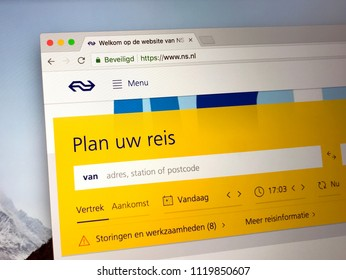Amsterdam, the Netherlands - June 24, 2018: Website of the Dutch Railways (Dutch: Nederlandse Spoorwegen or NS).
