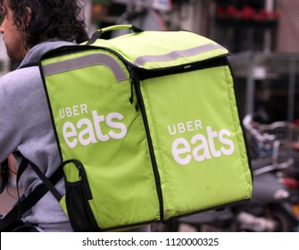 Amsterdam, Netherlands -june 24, 2018: Uber eats delivery on a bike in Amsterdam