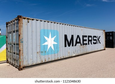 Amsterdam, Netherlands -june 26, 2018: Container of Maersk shipping company in Amsterdam