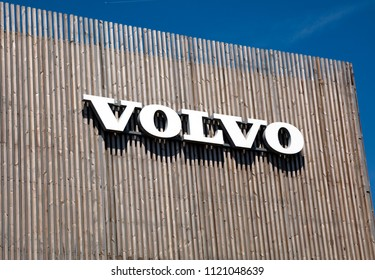 Amsterdam, Netherlands -june 26, 2018: Volvo letters on a wooden building in Amsterdam