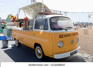 Amsterdam, Netherlands -june 26, 2018: Volkswagen foodtruck at a festival in Amsterdam