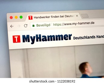 Amsterdam, the Netherlands - June 27, 2018: Website of the German MyHammer, a online marketplace and directory enabling homeowners to find tradesmen, and builders to find quality job leads